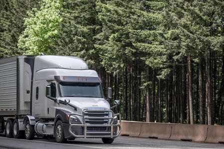 White low roof profile big rig semi truck tractor with grille guard transporting frozen commercial cargo in refrigerator semi trailer running on the green forest highway road in Columbia Gorge