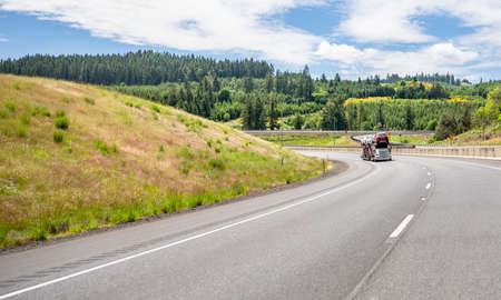 White professional industrial big rig car hauler semi truck transporting cars on the two level modular semi trailer running on the road with green mountains of summer Oregon on the background Stock fotó