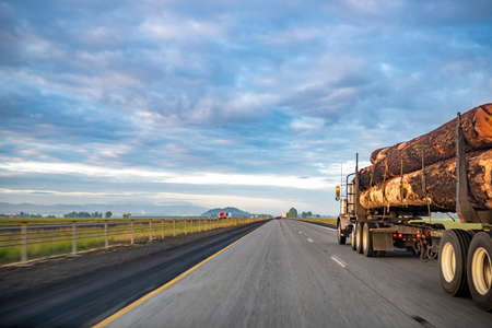 Big rigs classic specially equipped powerful semi trucks tractor with special semi trailer moving on the straight divided highway road at sunny day transporting tree logs to point of destination Stock fotó