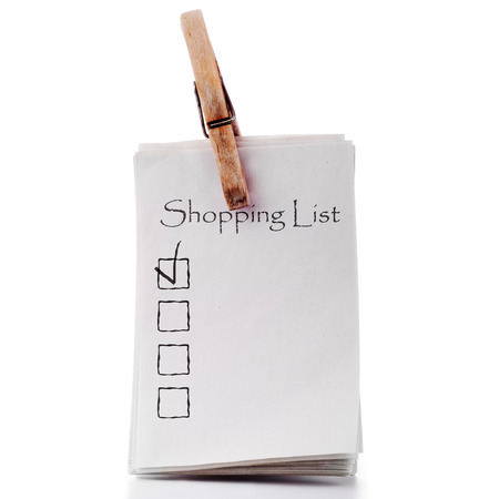 shopping list: Pinned memo shopping list isolated