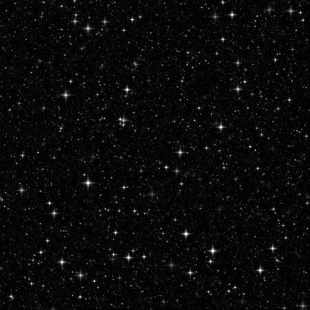 Black space with many stars. Seamless pattern, texture, background