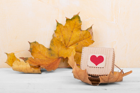 handcraft: Handcraft gift box on autumn background Stock Photo