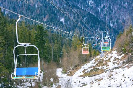 Ski lift winter mountains