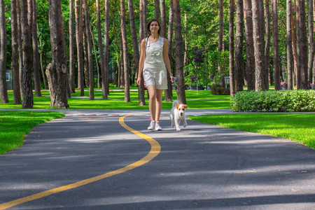 Woman walking in a park and dog on summer day. Pets walking outdoors. Fitness puppy