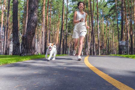 젊은 여자와 그녀의 강아지는 여름 날 공원에서 함께 실행합니다. 야외에서 인간과 애완 동물 스포츠 훈련입니다.