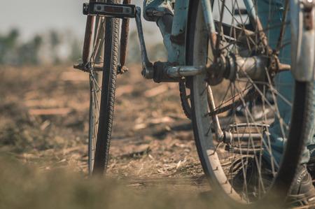 오래 된 자전거 근접 촬영