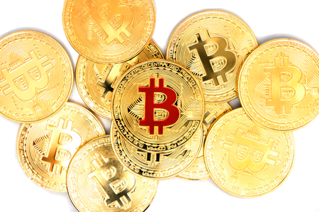Bitcoin cryptocurrency golden coins on white background 版權商用圖片
