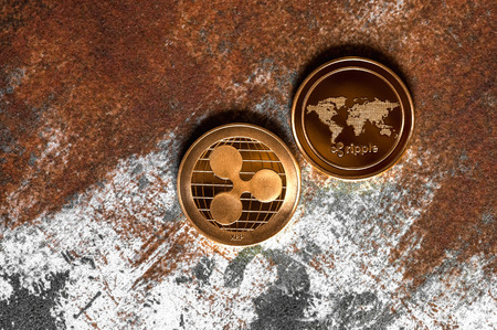 Ripple Cryptocurrency Coins background 版權商用圖片