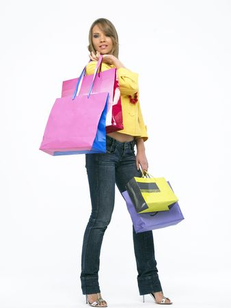 Portrait of a young happy woman with shopping bags Stock Photo - 4191878
