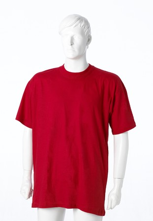 merce: Blank red t-shirt isolated on white Stock Photo