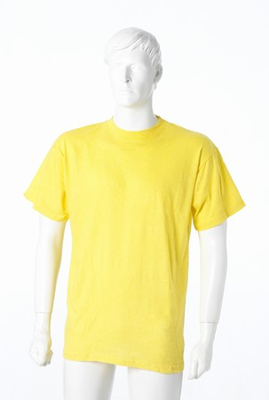 Blank yellow t-shirt isolated on white Stock Photo