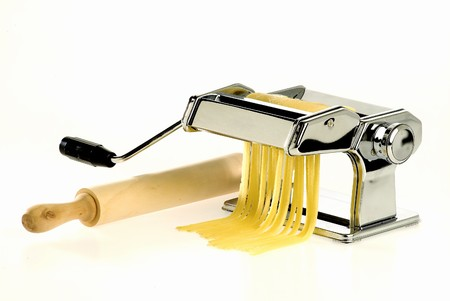 Homemade Pasta machine Stock Photo