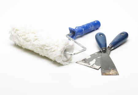 used paint roler spatula Stock Photo - 4310402