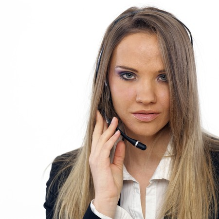 An attractive business woman with a headset Stock Photo - 4434308