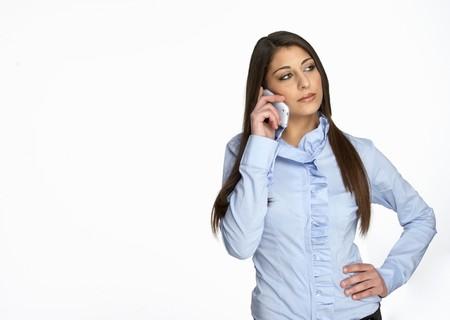 nice girl call on phone isolated white photo