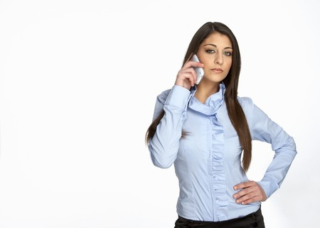 beautiful girl call phone isolated white photo