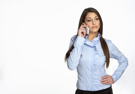 nice teen girl call on phone isolated on white photo