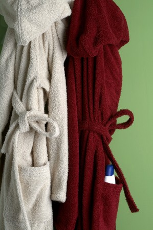 two bathrobe Stock Photo