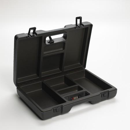 Stijve koffer met combinatie geïsoleerd op witte achtergrond Stockfoto