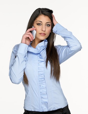 Pretty young girl talking on mobil phone Stock Photo - 4563645