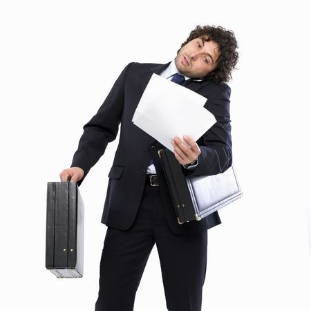 busy man with briefcase Stock Photo