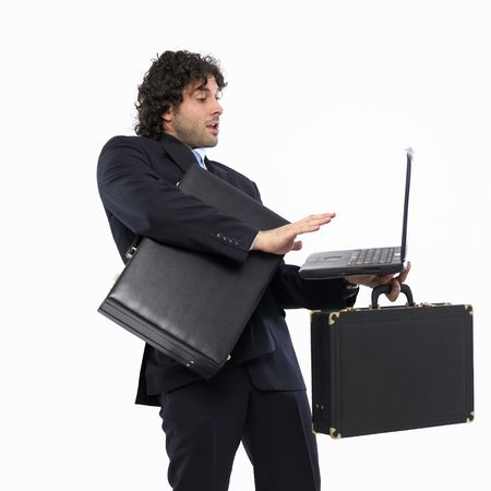 busy man with briefcase and laptop