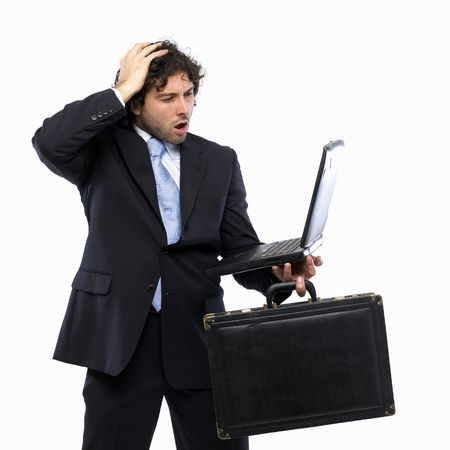Business Failure for businessman with briefcase and laptop photo