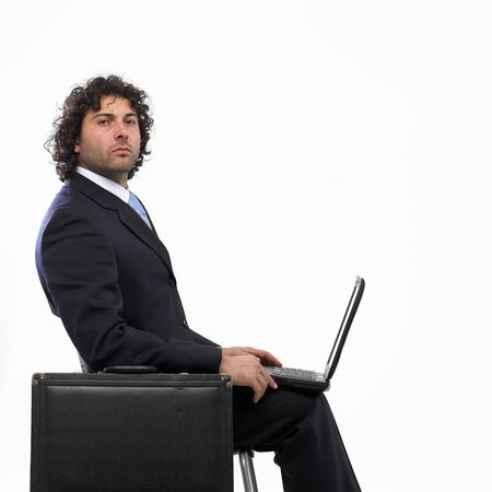 masculin: serius businessman with laptop Stock Photo
