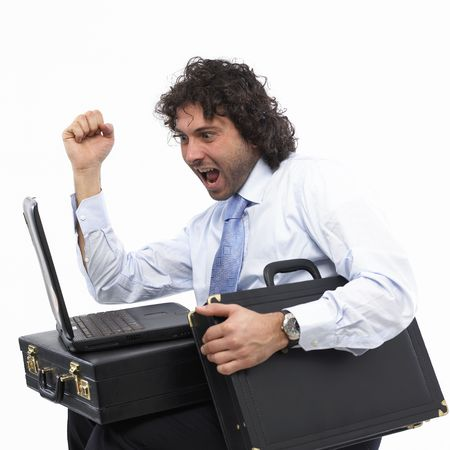 masculin: businessman with laptop and briefcase
