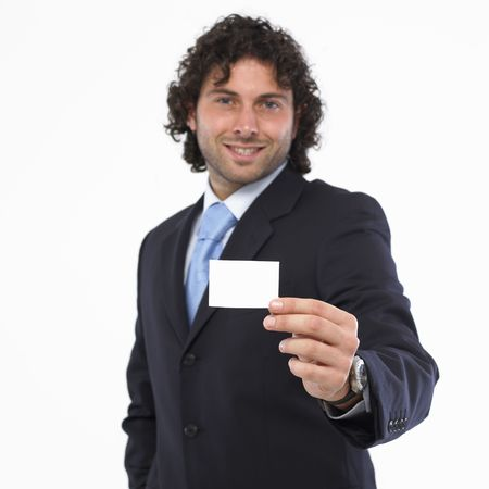 Man with business card in the hand isolated on white