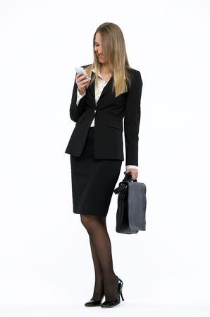 Portrait of a young attractive business woman talking on mobile phone Stock Photo - 4731478