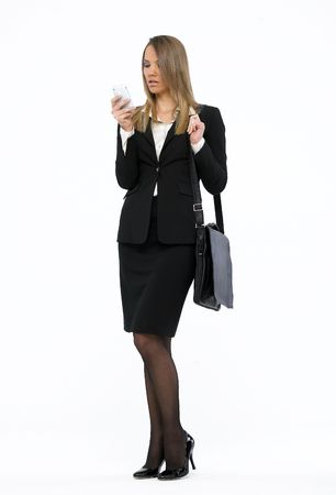 Portrait of a young attractive business woman talking on mobile phone Stock Photo - 4731479