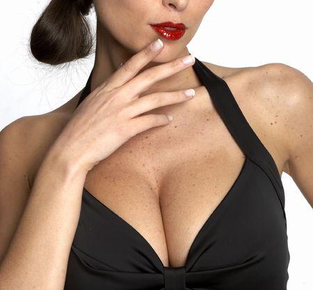 femme noire nue: Large breasted femme en robe noire