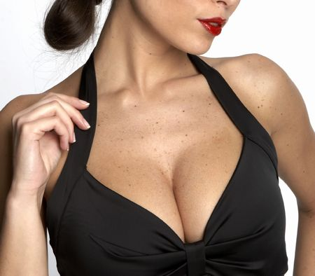 women breast: Large breasted woman in a black dress