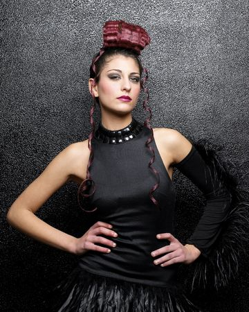Pretty girl poising with sexy black dress Stock Photo - 4920509