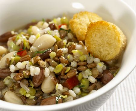 Peas, lentils, beans and barley soup Stock Photo