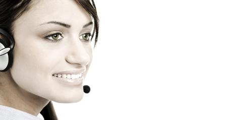 Portrait of pretty female office worker representative smiling photo