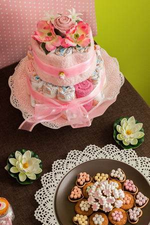 diaper cake candy Stock Photo
