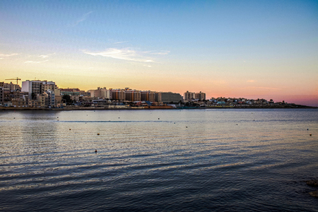 Winter sunset in a city on the island of Malta