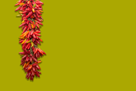 Spicy chilies hung to dry Stock Photo