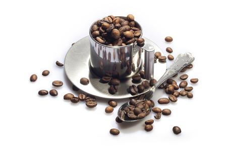 Coffee break - coffe cup silver Stock Photo