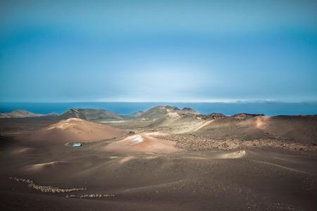 Panorama of the volcanoes of Lanzarote Park.. The Timanfaya