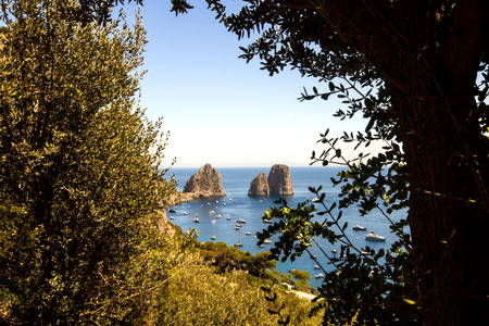 View of the faraglioni from the island of Capri in Italy Stock Photo