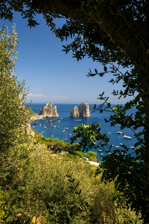 view of the faraglioni from the island of Capri in Italy