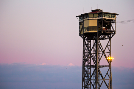 tower Jaume and teleferic in Barcelona, Spain, Catalonia Stock Photo