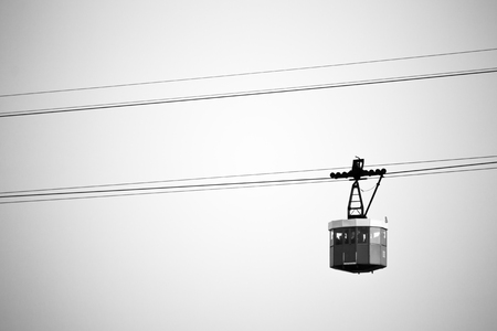 cabin of cableway stands out on Barcelonas port