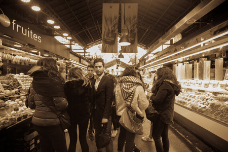 Barcellona, Spain - March 2015 - Boqueria - inside the Boqueria in Barcelona