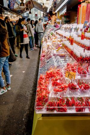 Barcellona, Spain - March 2015 - Boqueria - inside the Boqueria in Barcelona, chili stall