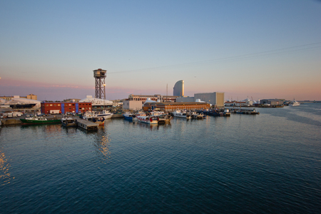 Barcellona - March 2015 - Panorama of the port of barcelona from a terrace Editorial