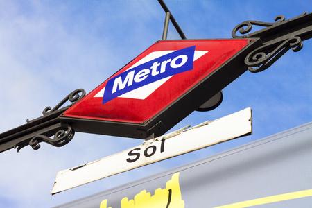 Sol Metro Station Sign in Madrid Spain; Europe